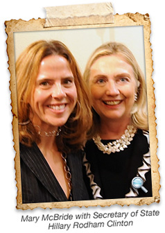 Mary McBride and Hilary Clinton