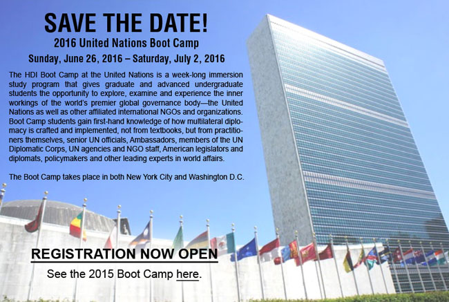 SAVE THE DATE! 2016 United Nations Boot Camp