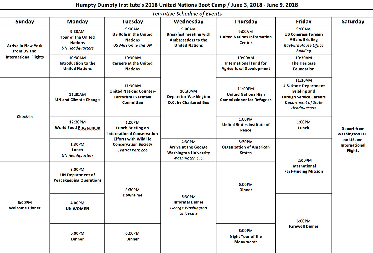 UN Boot Camp Schedule