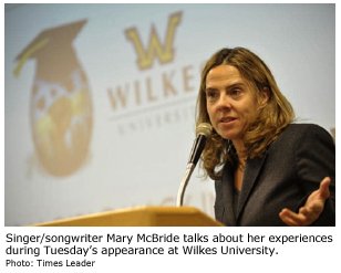 Mary McBride speaks at Wilkes University